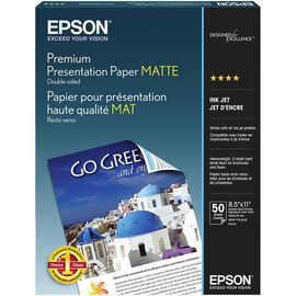 Epson Premium 2-Sided Matte Presentation Paper - 8.5 x 11inch - 50 sheets