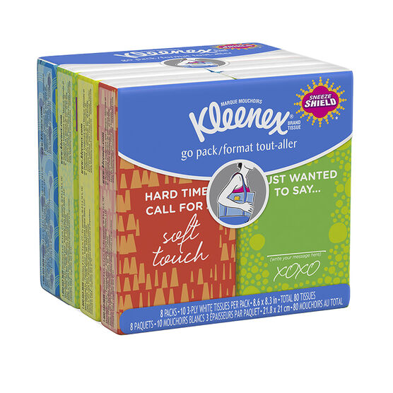 Kleenex Facial Tissue Pocket Pack - 8 x 10's
