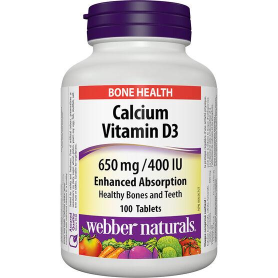 Webber Naturals Calcium Vitamin D3 - 650mg/400IU/100's