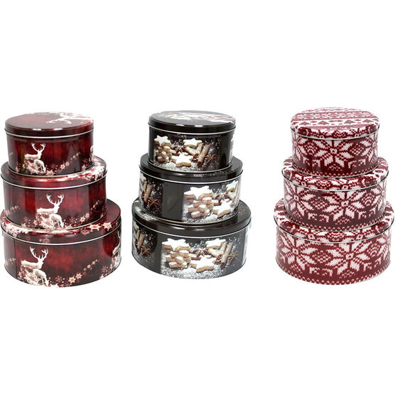 Christmas Round Tin Boxes - Assorted