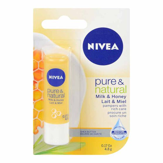 Nivea Pure & Natural Milk & Honey Lip Care - 4.8g
