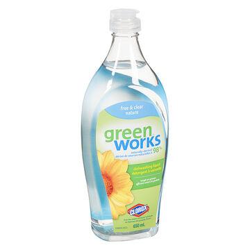 Green Works Dishwashing Liquid - Free & Clear - 650ml