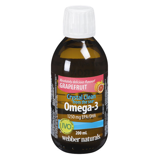 Webber Naturals Crystal Clean Liquid Omega-3 - 1250mg - Grapefruit - 200ml