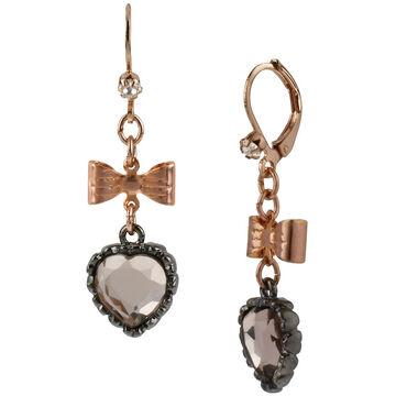 Betsey Johnson Heart Bow Drop Earrings - Rose Gold Tone