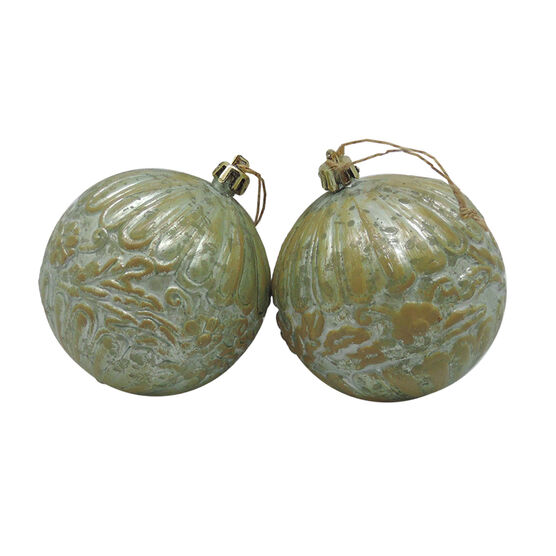 Embossed Ball Ornament - Set of 2 - CG2330-55S2