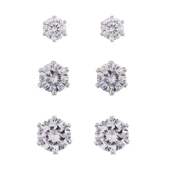 Anne Klein Cubic Zirconia Trio Stud Earrings - Silver