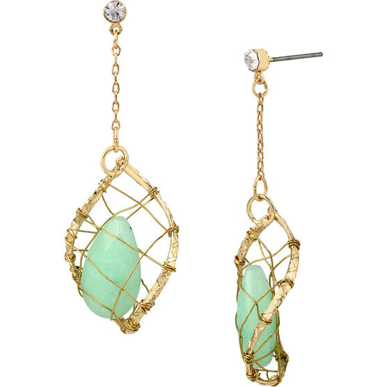 Haskell Wrapped Stone Earrings - Mint/Gold
