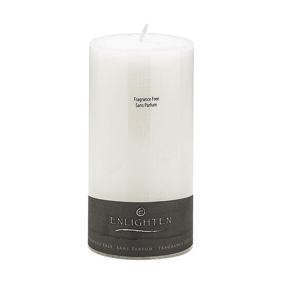Enlighten Linen Unscented Pillar Candle - White - 3 x 6inch