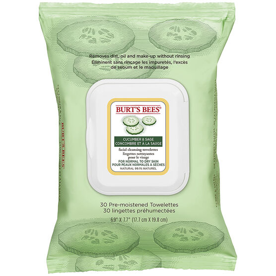 Burt's Bees Facial Cleansing Towelettes - Cucumber & Sage - 30's
