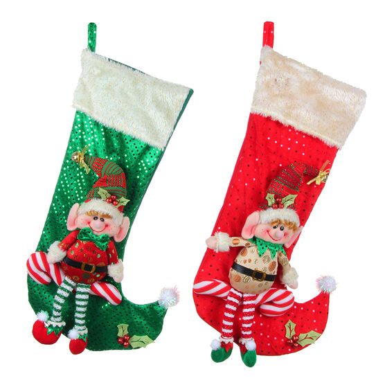Winter Wishes Elf Stocking - 12 inch - Assorted