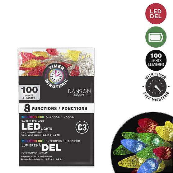 Danson C3 Battery-Operated Light String with Timer - 100 lights - Multicolour - X99374