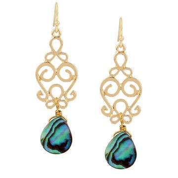 Haskell Filigree Mop Shell Earrings - Green/Gold