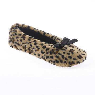 Isotoner Ballerina Bow Slipper - Cheetah - Extra Large