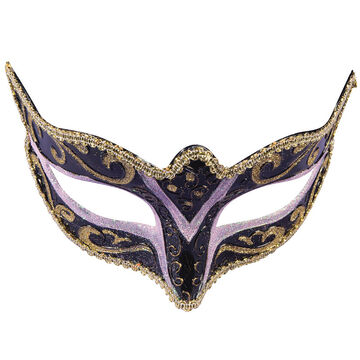 Halloween Masquerade Half Mask - Black/Lavender
