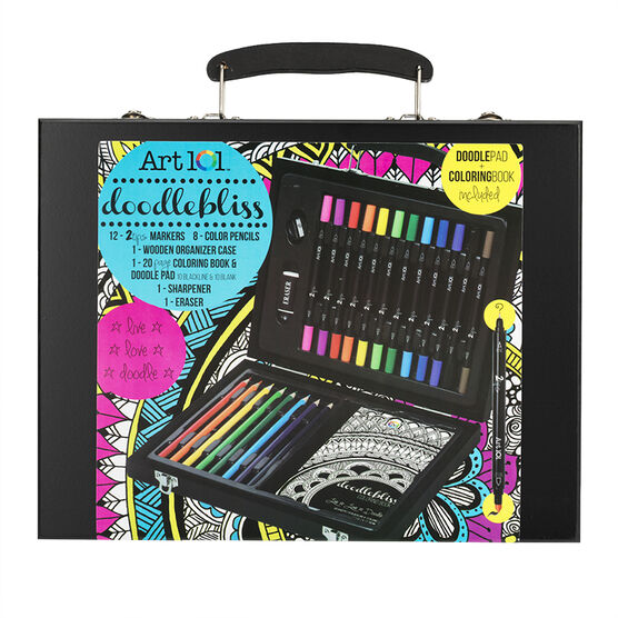 Art 101 Doodlebliss Colouring Set with Wood Case