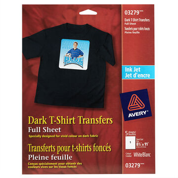 """Avery® Dark T-shirt Transfers for Ink Jet Printers 03279- 8-1/2"""" x 11"""" - Pack of 5"""