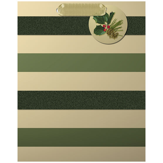 Hallmark Green Stripe Gift Bag - Medium - Elegant Golds - 0349XGB1226