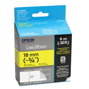 "Epson Black on Yellow String Adhesive Easy Peel Label 3/4"" - 18mm x 9m"