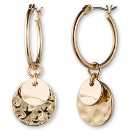 Lonna Lilly Pendant Hoop Drop Earrings - Gold