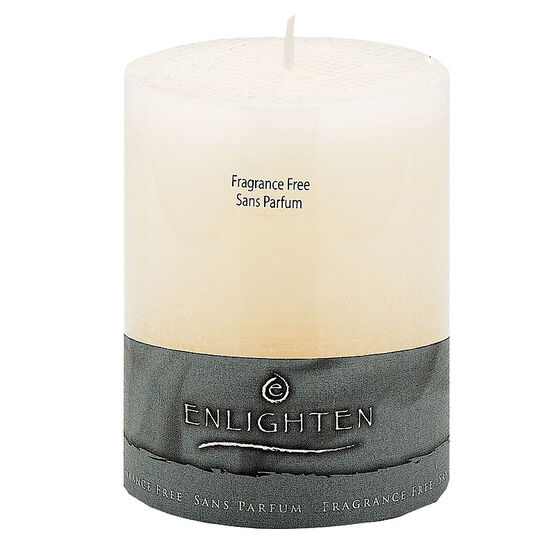 Enlighten Linen Unscented Pillar Candle - Ivory - 3 x 4inch