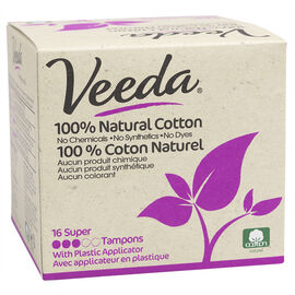 Veeda 100% Natural Cotton Tampons - Super - 16's