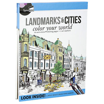 Spicebox Landmarks & Cites Colouring Book