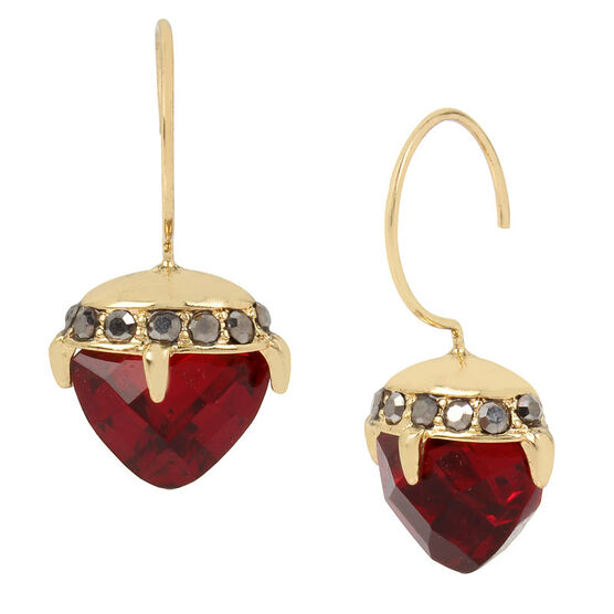 Betsey Johnson Thorn Drop Earring - Ruby/Gold