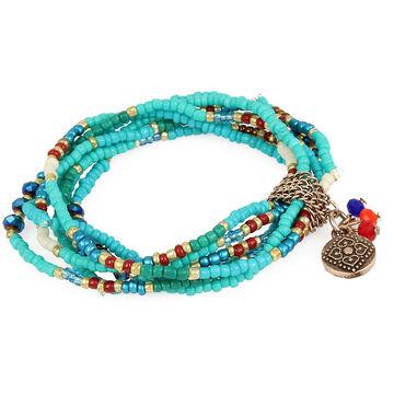 Haskell Turquoise Beaded Stretch Bracelet Set - Turquoise/Gold