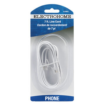 Electrohome 7-ft Line Cord with Modular Plugs - ELS90CL - White