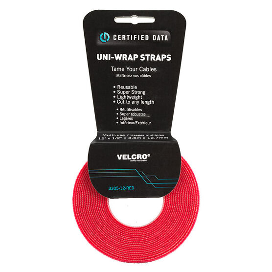 Certified Data 1/2-inch Velcro Wrap - 12 feet - Red