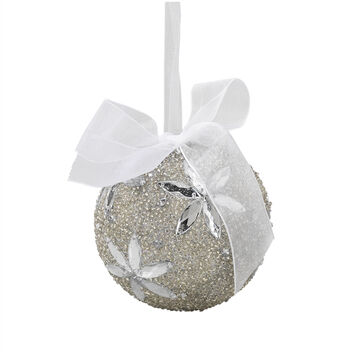 Winter Wishes Blue Ice Ball Ornament - White Bead