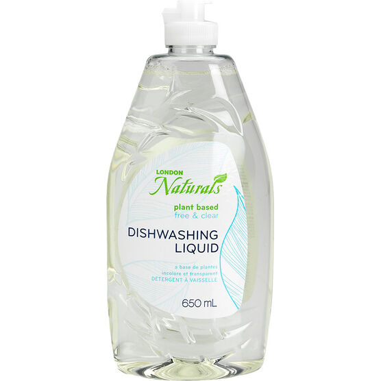 London Naturals Plant Based Dishwashing Liquid - Free & Clear - 650ml