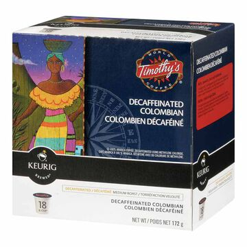 Keurig K-Cup Timothy's Coffee Pods - Colombian Decaf - 18's