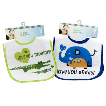 Honey Bunny Love You Mommy & Daddy Bibs - 2 pack - Assorted