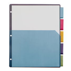 Cardinal Poly Single Pocket 5 Tab Index Dividers - 9 x 12inch