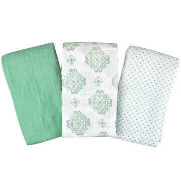 Summer Infant Muslin Blanket - Ornate Geo/Ornate/Light Aqua - 3 pack