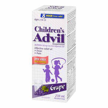 Advil Children's Suspension - Dye-Free Grape - 230ml