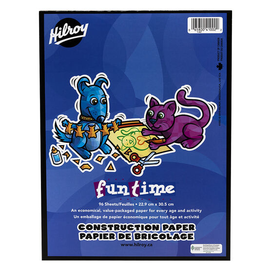 Hilroy Funtime Construction Paper Pad - 9 x 12 inch - 96 sheets