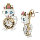 Betsey Johnson Princess Charming Cat Clock Front Back Earrings - White