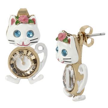 Betsey Johnson Princess Charming Cat Clock Front Back Earrings - White