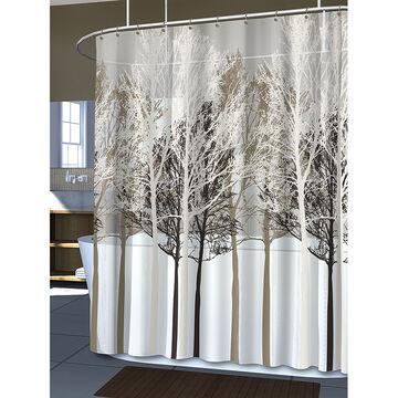 Splash Vinyl Shower Curtain - Forest - Beige
