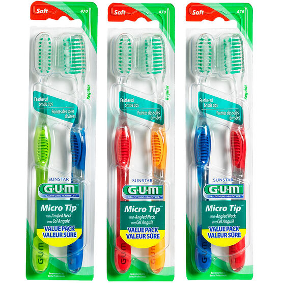 G.U.M. Micro Tip Toothbrush - Soft Bristles Regular Head - 2's