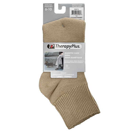 TherapyPlus Women's Diabetic Anklet Socks - Shoe Size 6-10 -Tan