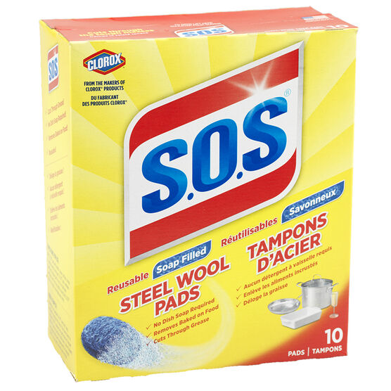 SOS Steel Wool Soap Pads - 10 pack