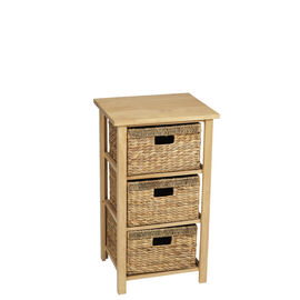 London Drugs Rubberwood Water Hyacinth Drawer - Natural - 3 Drawer