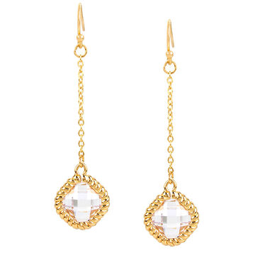 Haskell Crystal Chain Drop Earrings - Clear/Gold