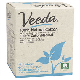 Veeda 100% Natural Cotton Tampons - Lite - 16's