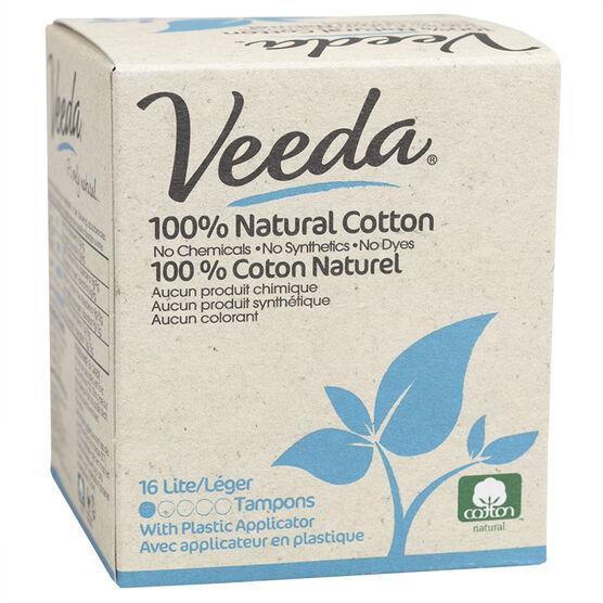 Veeda 100% Natural Cotton Tampons - Lite - 16's