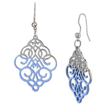 Haskell Dip Filigree Earrings - Blue/Rhodium