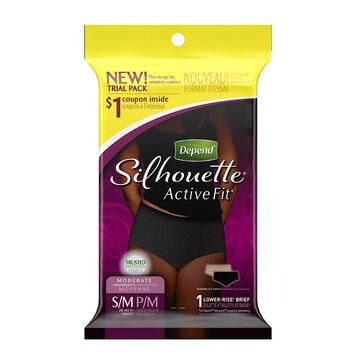 Depend Silhouette Active Fit Low Rise Brief - Small/ Medium - 1's